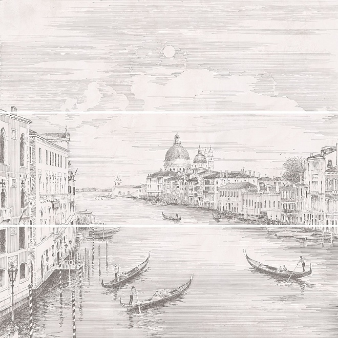 12109R/3x/3F Панно Город на воде Venice, 3 части 25х75, обрезной (размер каждой части)